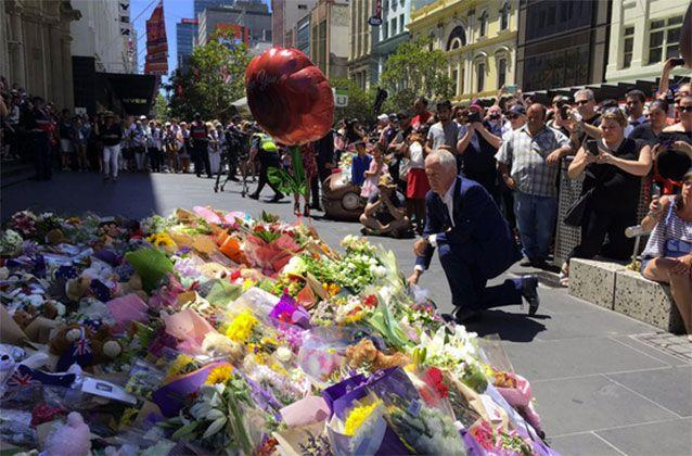 Prime Minister Malcolm Turnbull laid floral tributes at Bourke Street at the scene of the rampage. Picture: 7 News