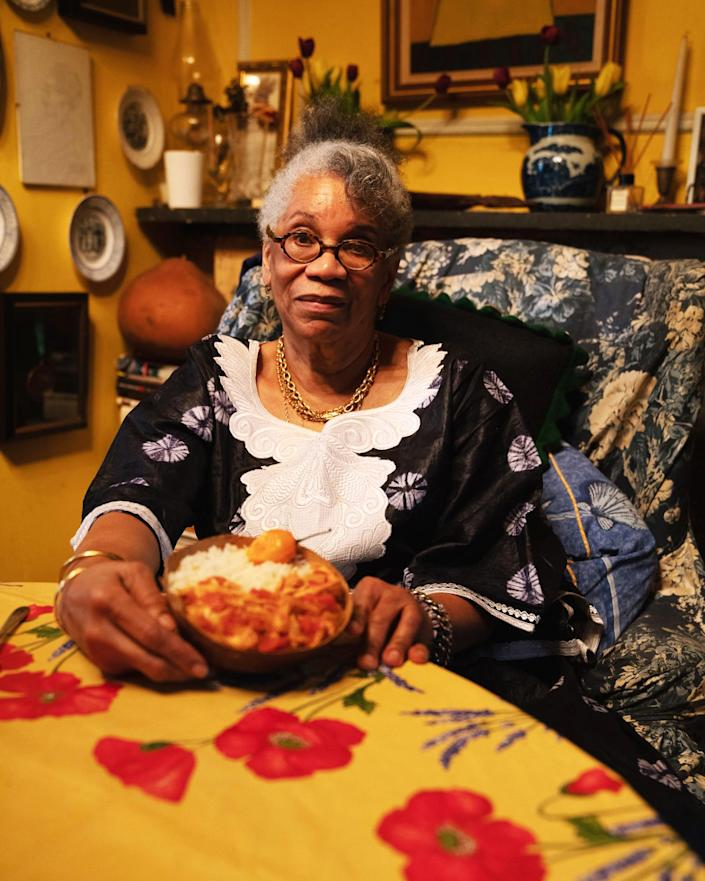 Harris with her finished moyo de poulet fume at her home in Brooklyn, New York. (Kara Birnbaum / TODAY)