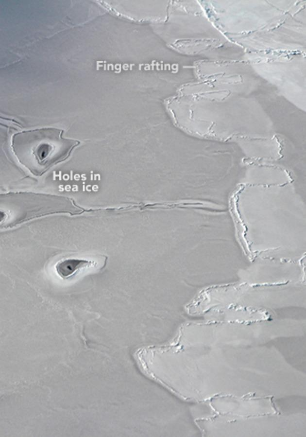 The image of finger rafting proves as evidence of thin ice colliding together. Source: NASA