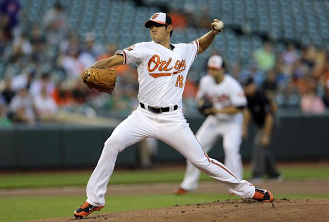 Baltimore Orioles starting pitcher Wei-Yin Chen, of Taiwan, throws to the Tampa Bay Rays in the first inning of a baseball game, Tuesday, Aug. 26, 2014, in Baltimore. (AP Photo/Patrick Semansky)