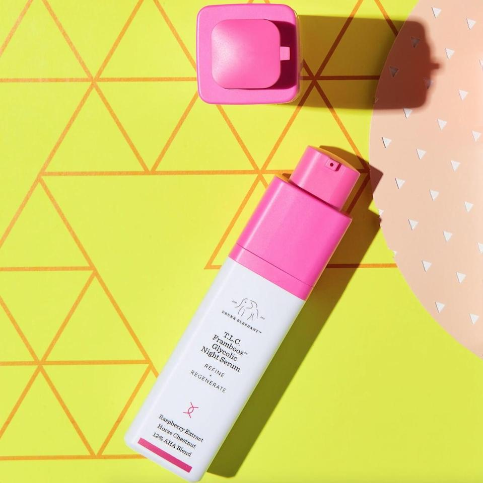 <p>The <span>Drunk Elephant T.L.C. Framboos Glycolic Resurfacing Night Serum</span> ($90) is one of the brand's most-hyped products, and it's well worth it if you're looking for something to transform your skin. The serum is a blend of 12 percent exfoliating AHAs and BHAs that are hard at work resurfacing the skin while you sleep. It's helped tons of reviewers keep their dry skin at bay, while reducing the size of pores.</p>