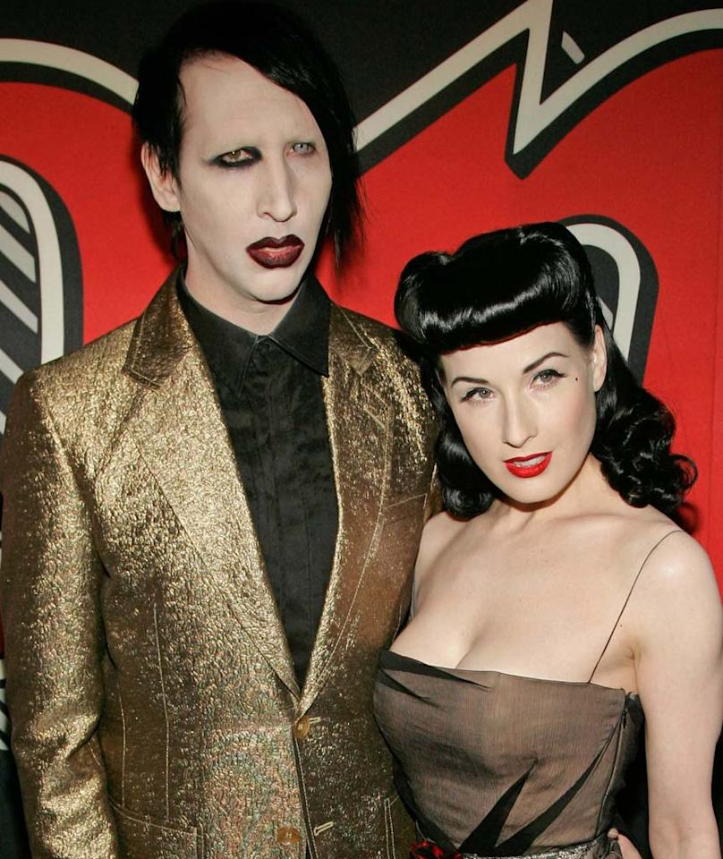 "Burlesque dancer Dita Von Teese filed for divorce from rocker Marilyn Manson after just one year of marriage. It's rumored that Marilyn's relationship with 20-year-old actress Evan Rachel Wood was the main reason behind the split. Andy Robinson/Matt Keeble/<a href=""http://www.splashnewsonline.com/"" target=""new"">Splash News</a> - May 4, 2006"