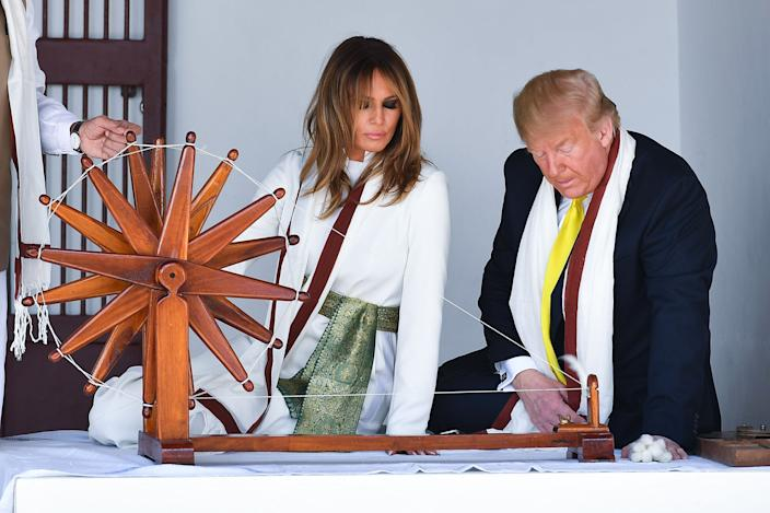 President Donald Trump and first lady Melania Trump visit a Gandhi museum in Ahmedabad, India, on Feb. 24.