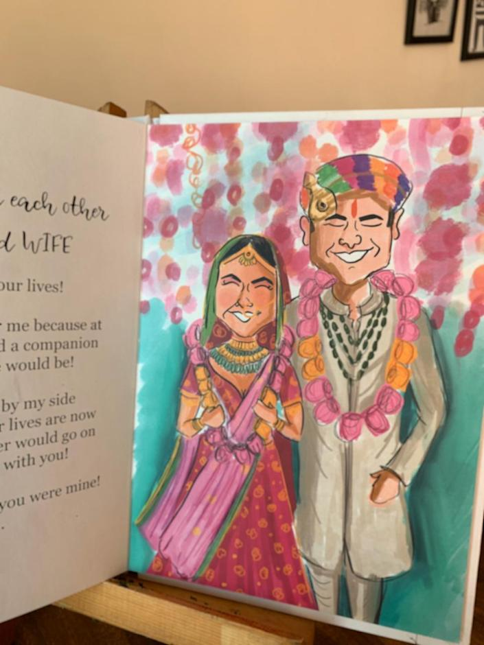 Divya understands the personality traits and the story of each client, and incorporate those elements in her drawing. Pictured is a wedding invitation card she has designed.