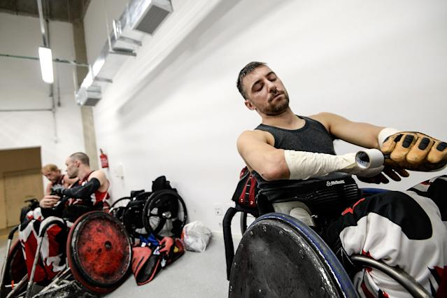 RIO DE JANEIRO, BRAZIL - FEBRUARY 26: Patrice Simard of Canada prepares before the match between Canada and Australia during the International Wheelchair Rugby Championship - Aquece Rio Test Event for the Rio 2016 Paralympics at Olympic Park on February 26, 2016 in Rio de Janeiro, Brazil. (Photo by Buda Mendes/Getty Images)