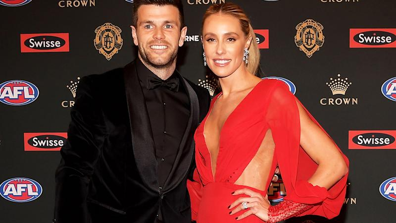 Trent and Brooke Cotchin are pictured on the red carpet at the 2018 Brownlow Medal count.