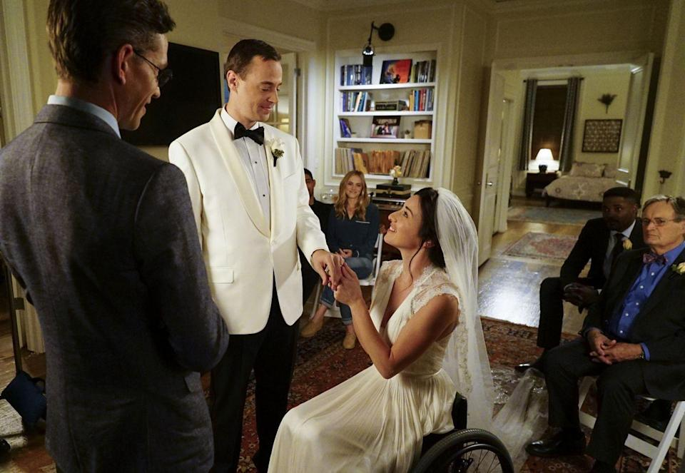 <p>Delilah and McGee began dating in Season 11 and not long afterwards she is the victim of a bombing leaving her permanently paraplegic. The couple are beloved on <em>NCIS </em>and fans were overjoyed when their wedding took place in Season 14. Delilah wore a silk V-neck gown with lace cap sleeve and a tulle gown that trailed behind her. </p>