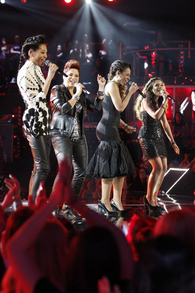 "Judith Hill, Karina Iglesias, Sasha Allen, and Cathia perform ""My Lovin' (You're Never Gonna Get It)"" on the ""Live Finale"" episode of ""The Voice"" Season 4."
