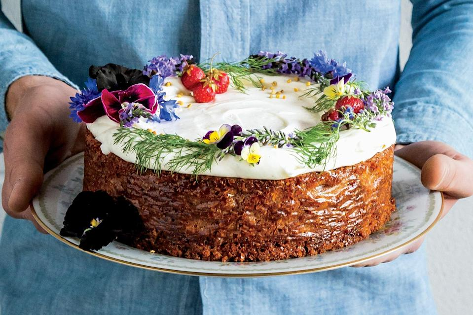 "Oh, wait: Did we mention the prettiest cake in the display case also happens to be gluten-free? Eat at will! <a href=""https://www.epicurious.com/recipes/food/views/spiced-honey-cake-with-cream-cheese-frosting-56389999?mbid=synd_yahoo_rss"" rel=""nofollow noopener"" target=""_blank"" data-ylk=""slk:See recipe."" class=""link rapid-noclick-resp"">See recipe.</a>"
