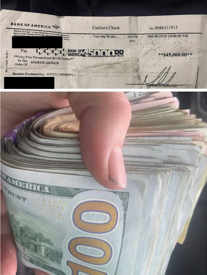 Another image of the alleged cashier's check receipt and an image of the money that was allegedly withdrawn from it.