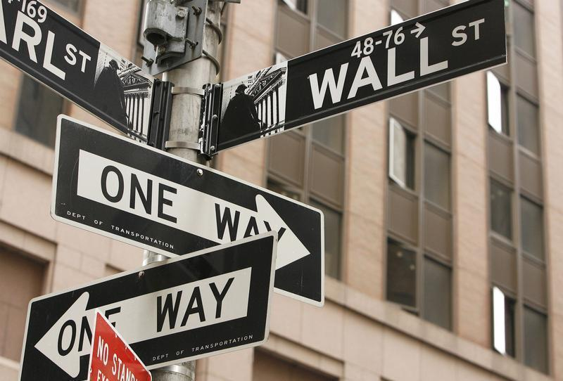 Wall St. sign is seen in New York's financial district