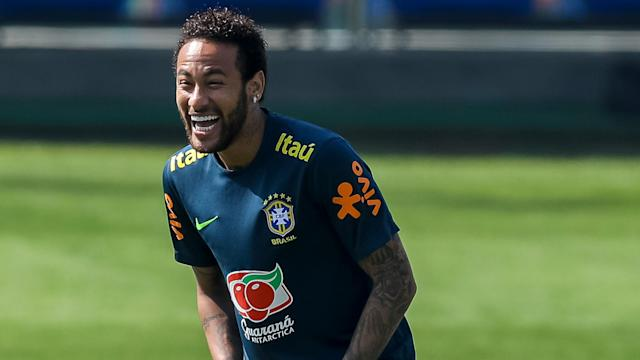 The Brazilians have linked up on international duty with the PSG star all smiles