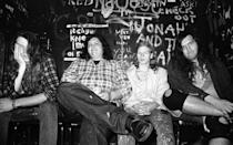 <p>Screaming Trees (including Mark Lanegan on left), backstage at the Fulham Greyhound in London, United Kingdom, 1989.</p>