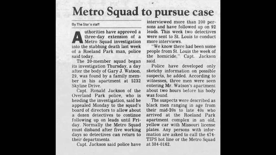 The Kansas City Star covered Gary Watson's death in a March 19, 1985, story.
