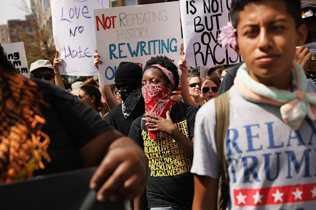 "Protesters march in Boston against a planned ""Free Speech Rally"" a week after the violent ""Unite the Right"" rally in Virginia left one dead and dozens injured. (Photo: Spencer Platt/Getty Images)"