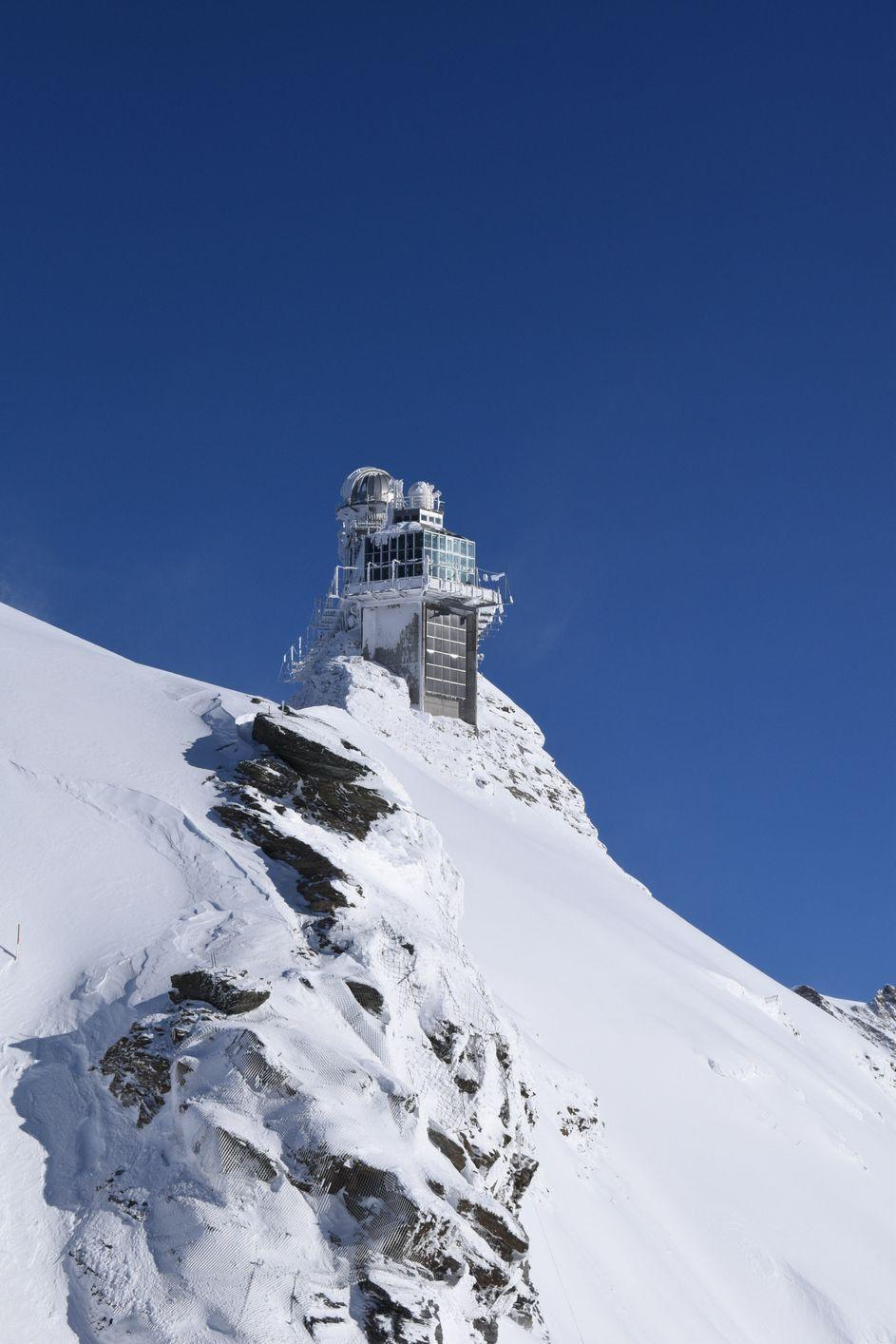 <p>Visitors to the Sphinx Observatory in Switzerland, which has surveyed the Alps since 1937, can take in views of nearby mountain-tops from the public viewing deck, but Anderson may have found in hard to capture his signature panoramic shots in the harsher weather of the observatory's mountains. </p>