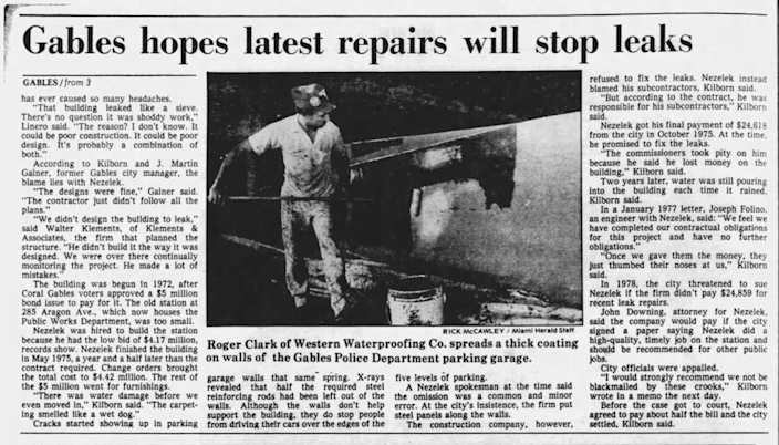 A Miami Herald news article from 1985 describes problems with the Public Safety Building in Coral Gables.