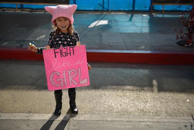 A current and future fighter for women's equality at the Women's March on Jan. 20 in Los Angeles. (Photo: Getty Images)