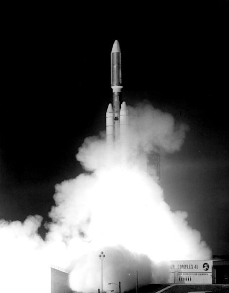 This handout photograph from Sept. 5, 1977 shows the launch of NASA's Voyager 1 spacecraft from NASA's Kennedy Space Center at Cape Canaveral, Florida
