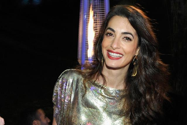 Amal Clooney at the Versace event. (Photo: Getty Images)