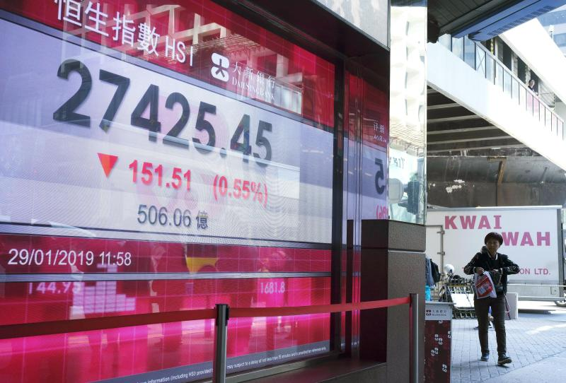 A man walks past an electronic board showing Hong Kong share index outside a local bank in Hong Kong, Tuesday, Jan. 29, 2019. Asian markets were lower on Tuesday after the U.S. Justice Department unsealed criminal charges against China's Huawei, its subsidiaries and a top executive ahead of trade talks. (AP Photo/Vincent Yu)