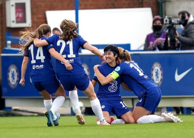 Chelsea's Ji So-yun is congratulated after scoring her side's second goal