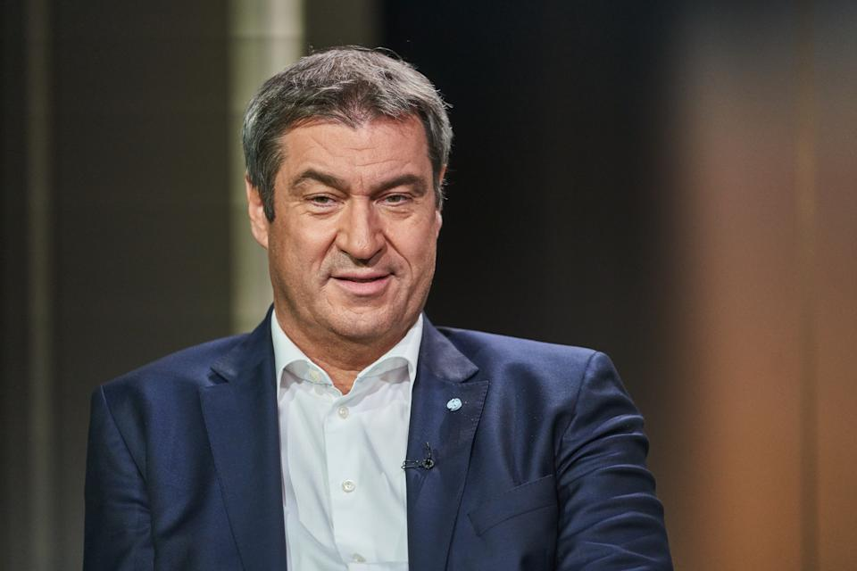 BERLIN, GERMANY - AUGUST 29: Markus Söder (CSU) attends the ARD summer interview on August 29, 2021 in Berlin, Germany. (Photo by Zick - Pool/Getty Images)