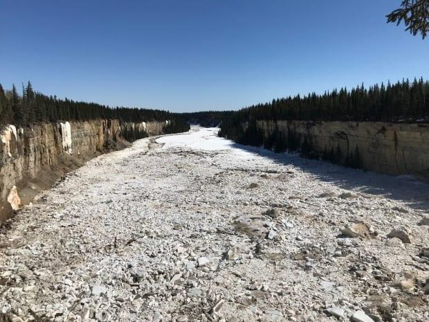 Breakup at Alexandra Falls this week. Officials in Hay River now say that breakup is imminent. (Anna Desmarais/CBC  - image credit)