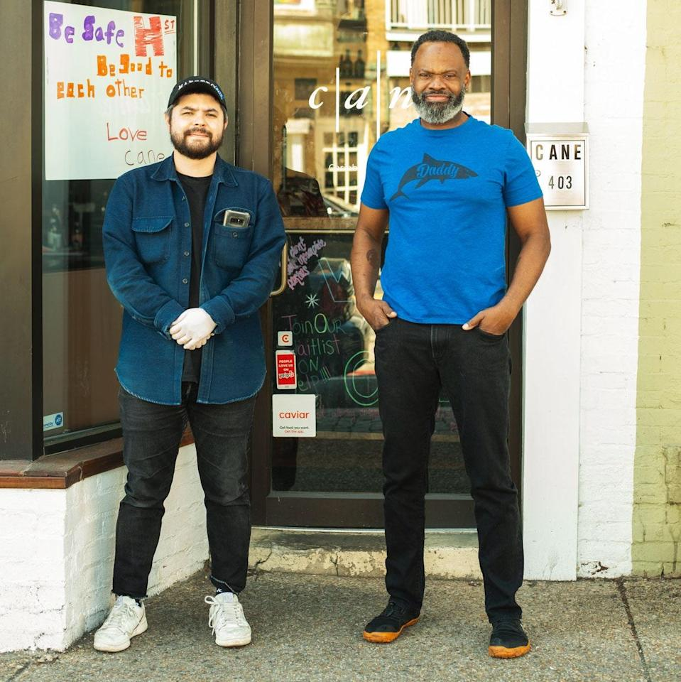 "<h1 class=""title"">the-power-of-ten-cane-restaurant.jpg</h1> <div class=""caption""> Chefs Erik Bruner-Yang and Peter Prime outside of Cane, Prime's restaurant in D.C. </div> <cite class=""credit"">Photo by Foreign National</cite>"