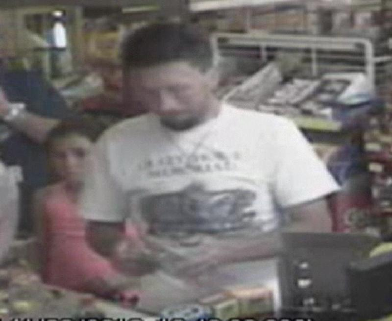 In this photo made from surveillance video and released by the Tennessee Bureau of Investigation, Adam Mayes, 35, stands in front of the counter at a convenience store on April 30, 2012 in Union County, Miss., about three days after Jo Ann Bain  and her daughters disappeared. Authorities say Mayes abducted Bain and her three daughters. Bain and her oldest daughter were found dead. The two younger girls are still missing.  (AP Photo/Tennessee Bureau of Investigation)