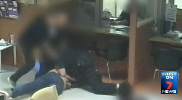 Footage of a disorderly man in the emergency department. Source: 7News