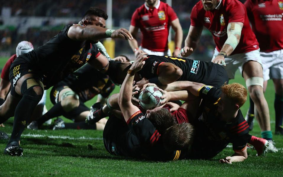 Iain Henderson of the Lions is held up over the tryline during the 2017 British & Irish Lions tour match between the Chiefs and the British & Irish Lions - Getty Images