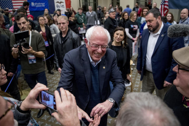 Bernie Sanders greets supporters after a campaign stop in Davenport, Iowa. (Photo: Andrew Harnik/AP)