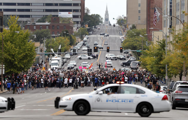 <p>Demonstrators protest outside the St. Louis Police Department headquarters in response to a not guilty verdict in the trial of former St. Louis police officer Jason Stockley Sunday, Sept. 17, 2017, in St. Louis. Stockley was acquitted on Friday in the 2011 killing of a black man following a high-speed chase. (Photo: Jeff Roberson/AP) </p>
