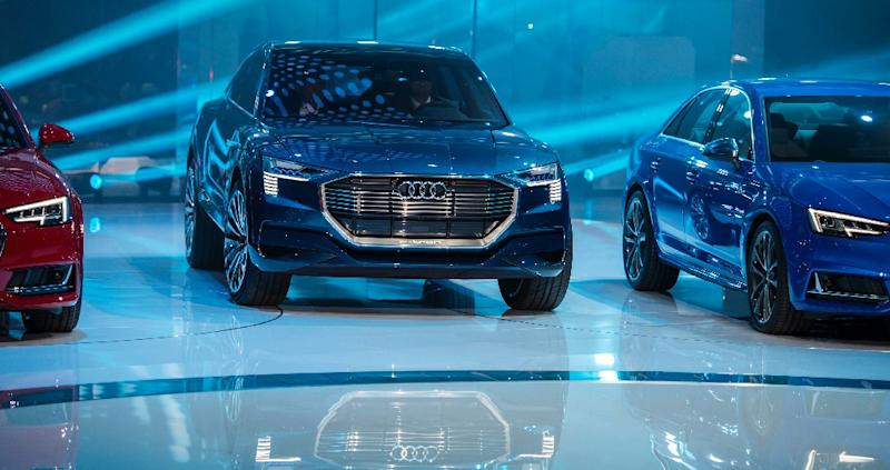 The Audi quattro electric drive concept SUV is presented at the 66th IAA auto show in Frankfurt am Main, western Germany, on September 15, 2015 (AFP Photo/Odd Andersen)