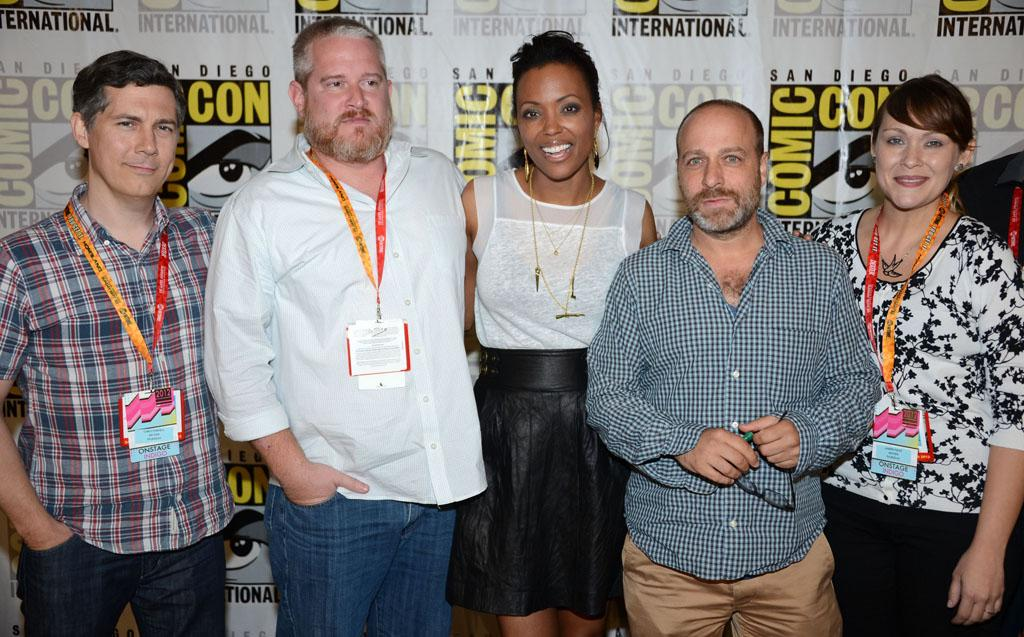 "Chris Parnell, Adam Reed, Aisha Tyler, H. Jon Benjamin, and Amber Nash (""Archer"") at Comic-Con International on July 12, 2012 in San Diego, California."