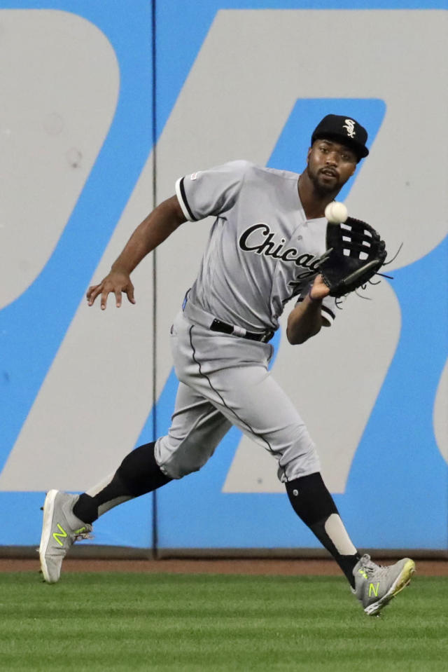 Chicago White Sox's Eloy Jimenez catches a ball hit by Cleveland Indians' Jordan Luplow in the third inning in a baseball game Monday, Sept. 2, 2019, in Cleveland. Luplow was out on the play. (AP Photo/Tony Dejak)