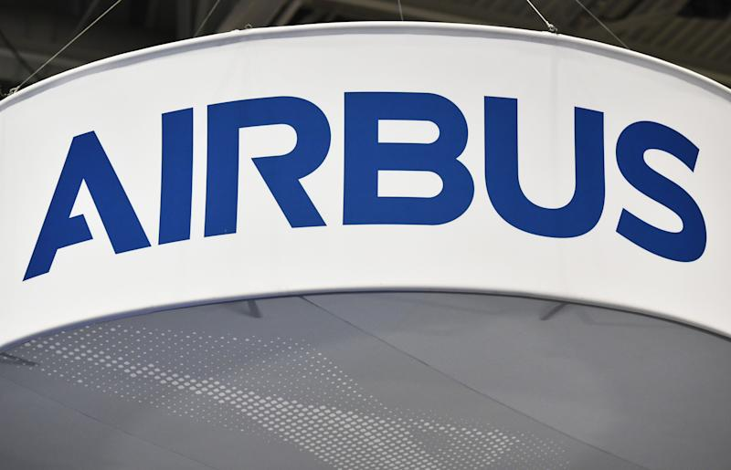 The Airbus logo is seen at its stand during the the 70th annual International Astronautical Congress at the Walter E. Washington Convention Center in Washington, DC on October 22, 2019. (Photo by MANDEL NGAN / AFP) (Photo by MANDEL NGAN/AFP via Getty Images)