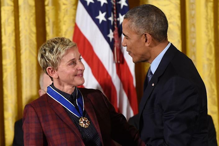 "<p>President Barack Obama presents comedian Ellen DeGeneres with the Presidential Medal of Freedom, the nation's highest civilian honor, during a ceremony in the East Room of the White House in Washington, D.C.</p><p><strong>RELATED: <a href=""https://www.redbookmag.com/life/a48402/ellen-degeneres-finding-dory-immigration-ban-comments/"" rel=""nofollow noopener"" target=""_blank"" data-ylk=""slk:Ellen DeGeneres Uses Finding Dory to Cleverly Take Down President Trump's Travel Ban"" class=""link rapid-noclick-resp"">Ellen DeGeneres Uses Finding Dory to Cleverly Take Down President Trump's Travel Ban</a></strong></p>"