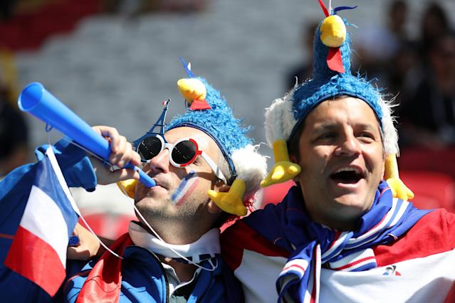 <p>The French fans get into the mood at the Kazan Arena as they await Australia </p>
