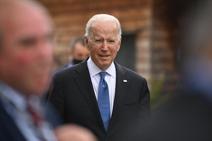 US President Joe Biden walks between engagements during the G7 Summit In Carbis Bay, on June 11, 2021 in Carbis Bay, Cornwall (Getty Images)