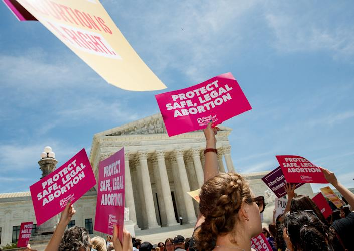 People protest for abortion rights in May outside the U.S. Supreme Court, which will hear an important Lousiana abortion case in the coming months. (Photo: Xinhua News Agency via Getty Images)