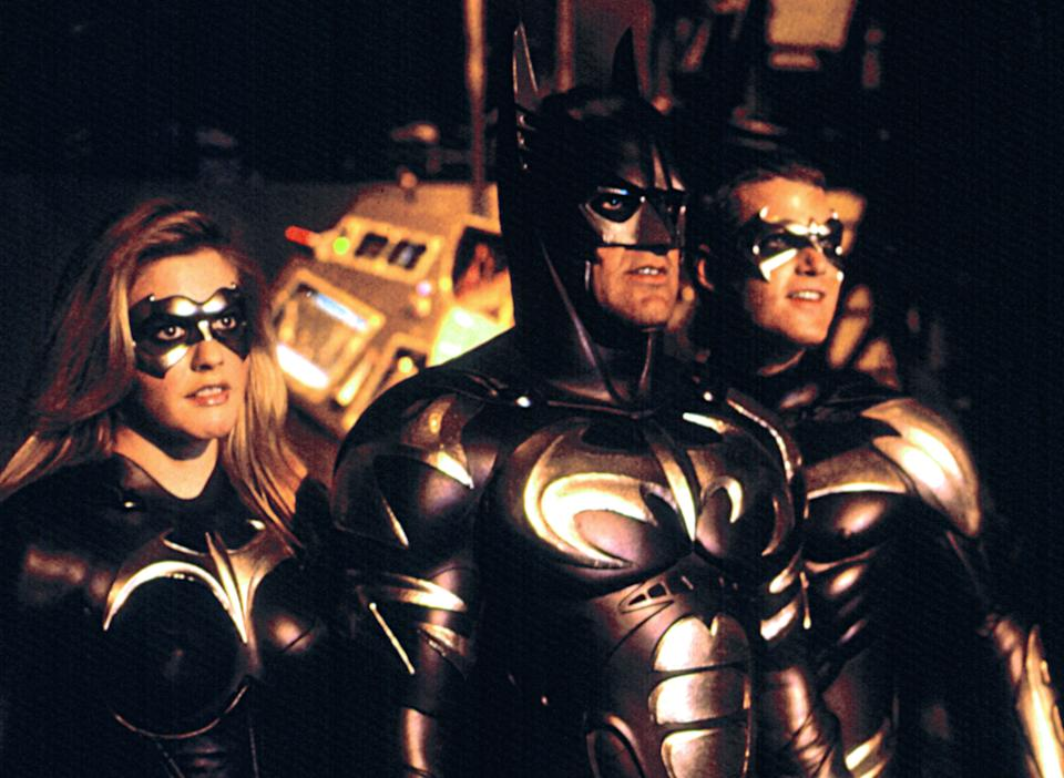 Alicia Silverstone as Batgirl, George Clooney as Batman and Chris O'Donnell as Robin in 'Batman & Robin' (Photo: Warner Bros./Courtesy Everett Collection)