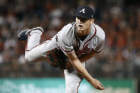 Atlanta Braves starting pitcher Mike Soroka follows through on a pitch to a Washington Nationals batter during the second inning of a baseball game, Friday, Sept. 13, 2019, in Washington. (AP Photo/Patrick Semansky)