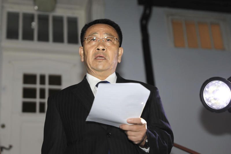 "North Korean negotiator Kim Miyong Gil reads statement outside the North Korean Embassy in Stockholm, Sweden, Saturday, Oct. 5, 2019. North Korea's chief negotiator said Saturday that discussions with the U.S. on Pyongyang's nuclear program have broken down, but Washington said the two sides had ""good discussions"" that it intends to build on in two weeks. (Kyodo News via AP)"