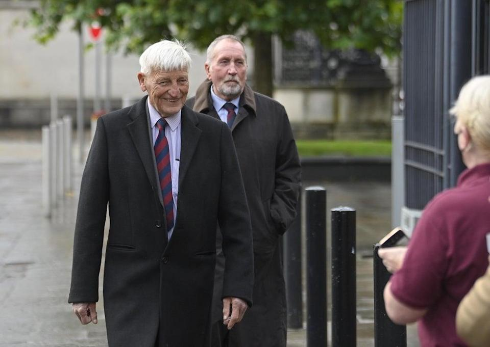 Dennis Hutchings, left, arrives at Laganside Courts, Belfast, the former member of the Life Guards regiment, has pleaded not guilty to the attempted murder of John Pat Cunningham in Co Tyrone in 1974. He also denies a count of attempted grievous bodily harm with intent (Mark Marlow/PA) (PA Wire)