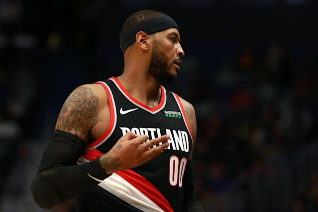 Carmelo Anthony's Portland debut can adequately be described as rusty. (Sean Gardner/Getty Images)