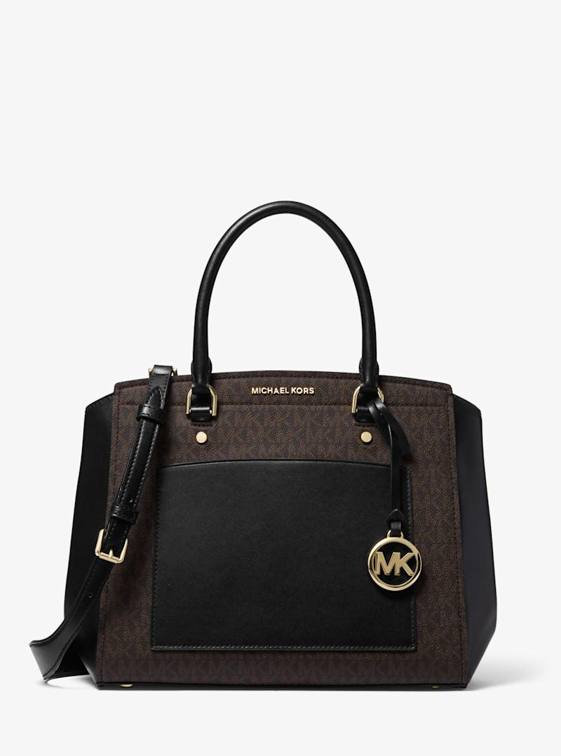 MICHAEL KORS Park Large Logo and Leather Satchel