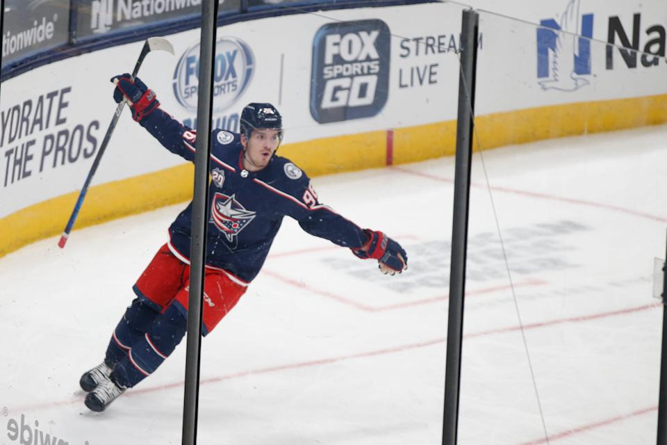 Blue Jackets' Jack Roslovic celebrates his goal against the Hurricanes during the third period Feb. 8, 2021.