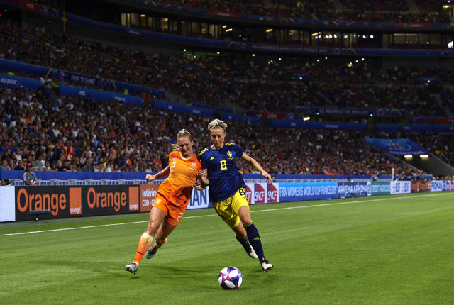 Desiree Van Lunteren of Netherlands competes for the ball with Lina Hurtigs of Sweden during the 2019 FIFA Women's World Cup France Semi Final match between Netherlands and Sweden at Stade de Lyon on July 03, 2019 in Lyon, France. (Photo by Quality Sport Images/Getty Images)